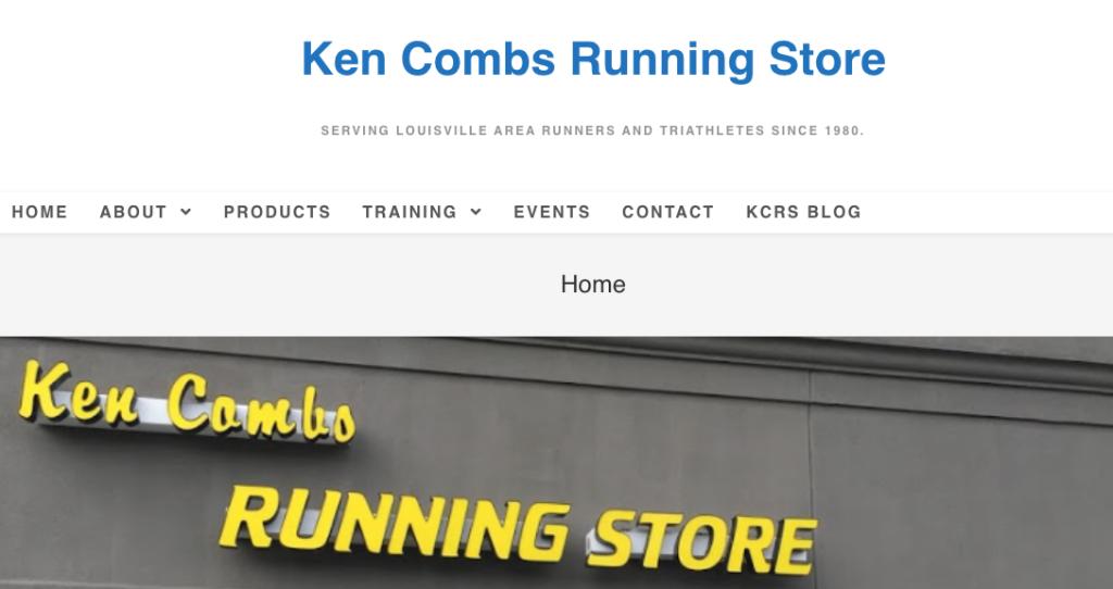 Ken Combs Running Store homepage screenshot